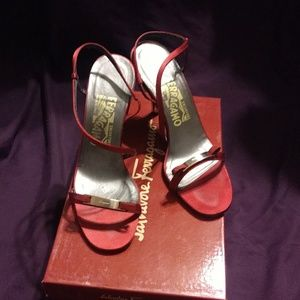 Salvatore Ferragamo Red Satin Strappy Heels